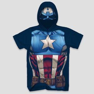 🆕 Marvel Captain America Short Sleeve Hooded Tee